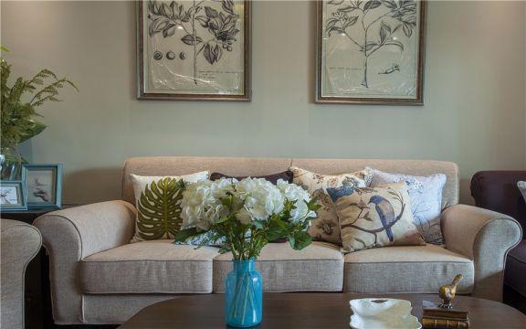 客廳沙發田園風格裝修設計圖片