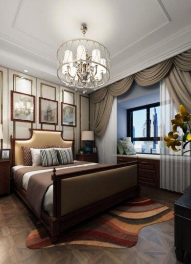 臥室床美式風格裝飾設計圖片