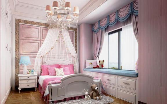 兒童房背景墻美式風格裝潢設計圖片