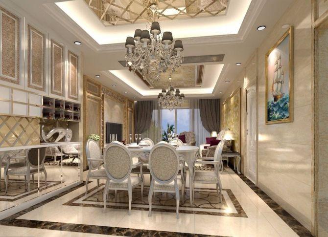 餐廳餐桌歐式風格裝潢效果圖