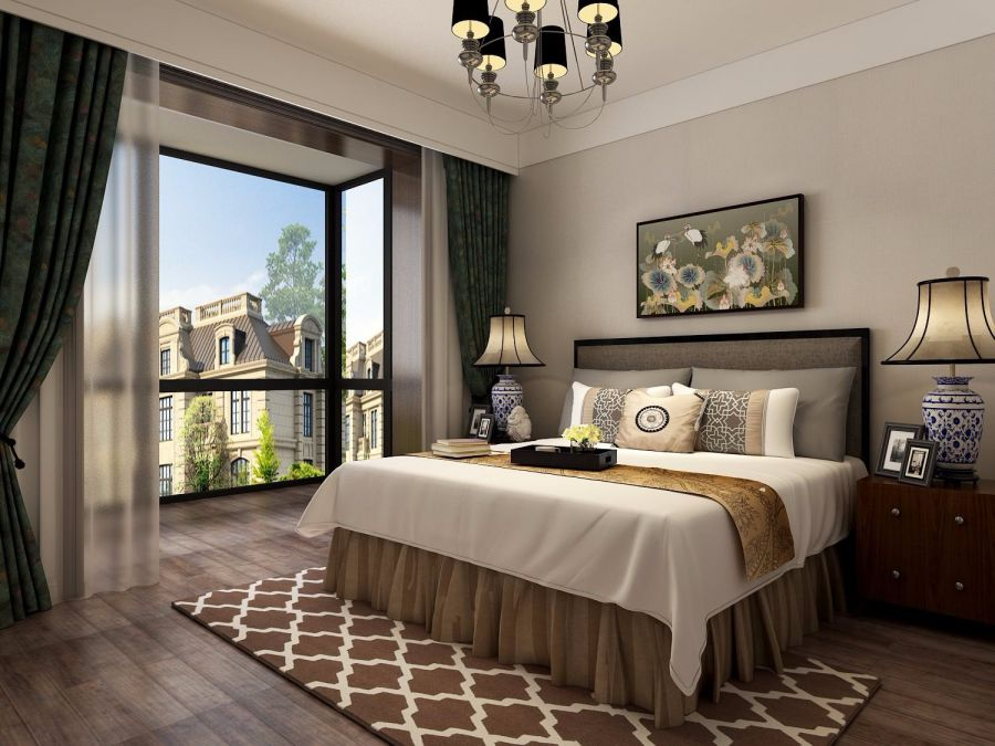 臥室窗簾歐式風格裝潢圖片