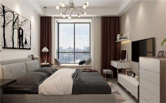 臥室窗簾現代風格裝修效果圖