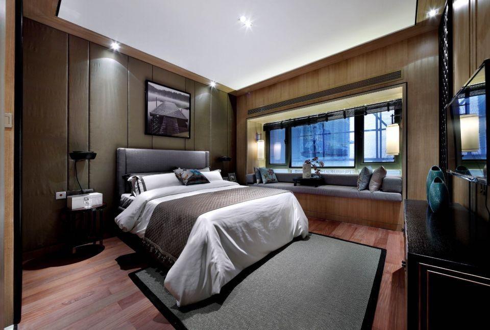 臥室背景墻中式風格裝潢效果圖