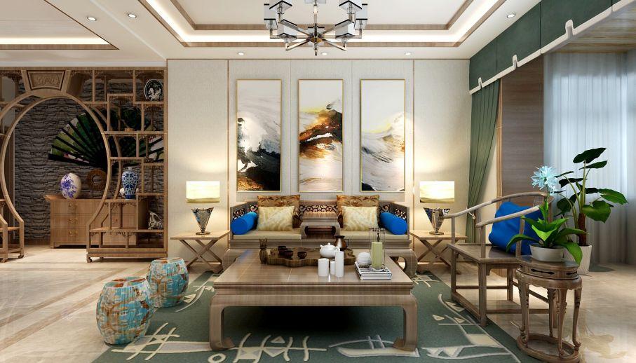 客廳背景墻新中式風格裝修效果圖
