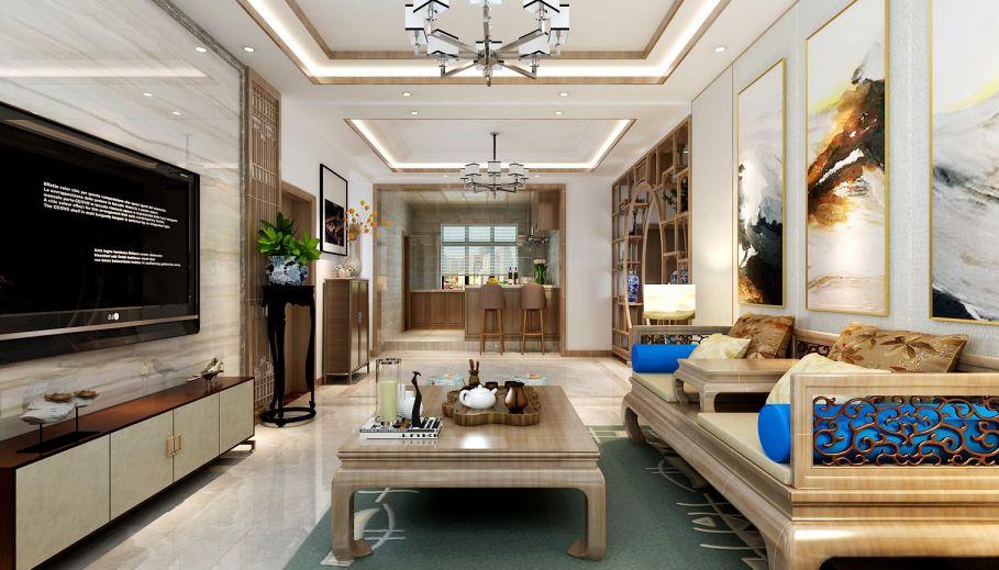 客廳沙發新中式風格裝飾效果圖