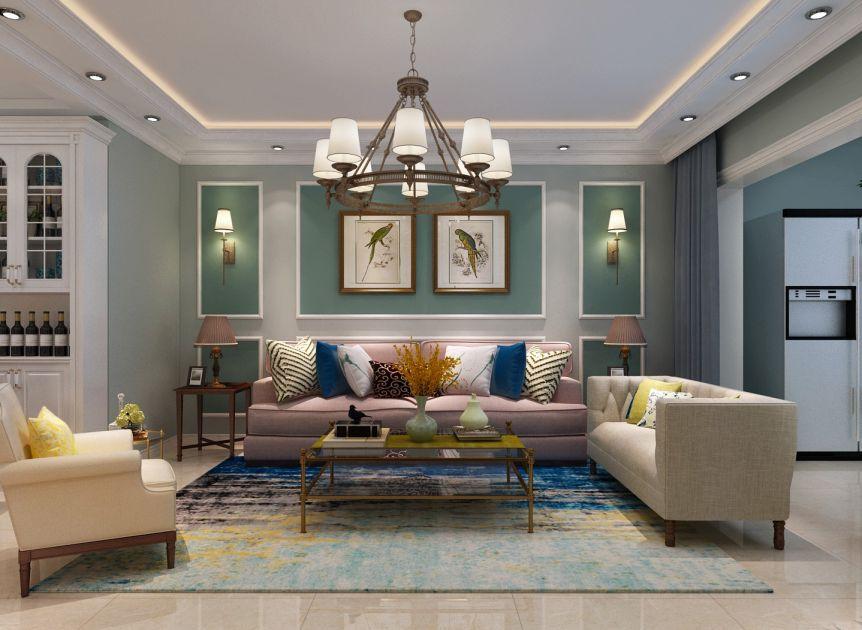 客廳背景墻美式風格裝修圖片