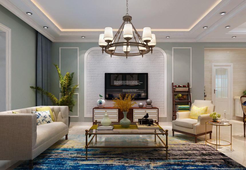 客廳電視柜美式風格裝飾圖片
