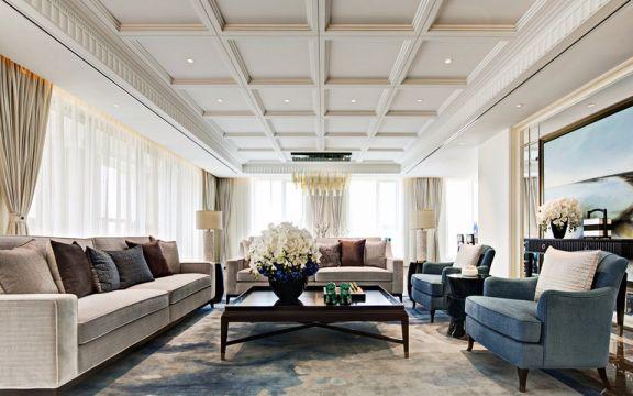 客厅白色吊顶新古典U乐国际装潢设计图片