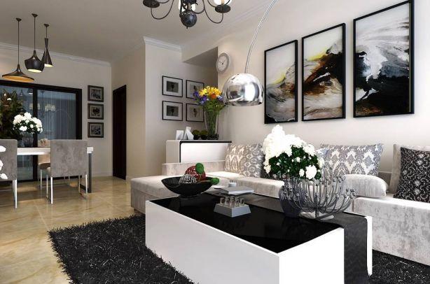 客厅白色背景墙混搭U乐国际装潢设计图片