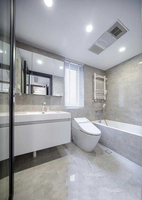 衛生間灰色背景墻簡歐風格裝飾圖片