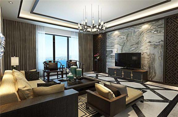 新中式电视墙客厅窗帘装饰实景图