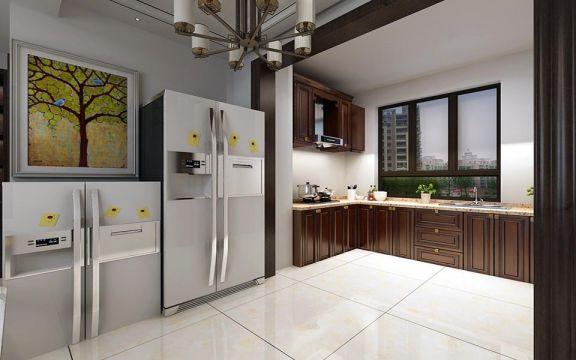 廚房咖啡色櫥柜新中式風格裝飾效果圖
