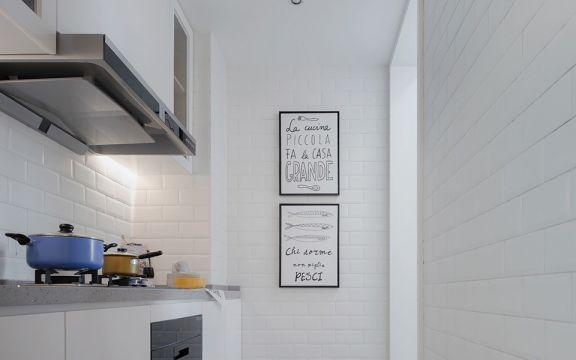 廚房白色背景墻北歐風格裝飾效果圖