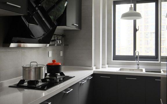 廚房灰色櫥柜北歐風格裝修效果圖