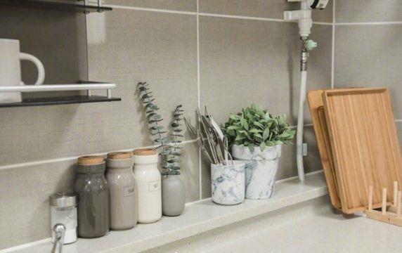 廚房灰色背景墻北歐風格裝潢圖片