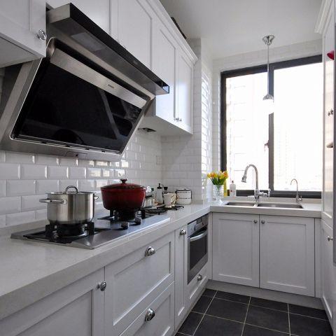 廚房白色櫥柜美式風格裝潢圖片