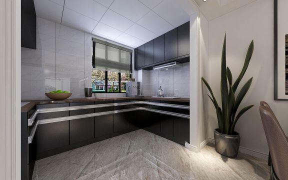 廚房黑色櫥柜現代簡約風格裝修設計圖片
