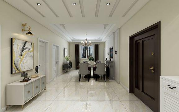 玄關米色門廳簡歐風格裝修設計圖片