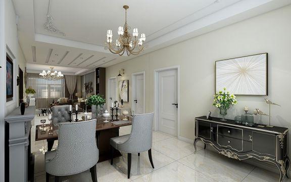 餐廳白色吊頂簡歐風格裝飾設計圖片