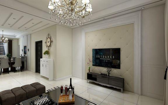 客廳黑色電視柜簡歐風格裝潢設計圖片