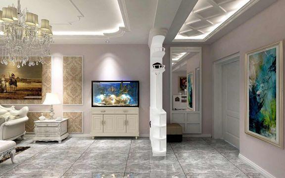客廳灰色地磚簡歐風格裝飾設計圖片