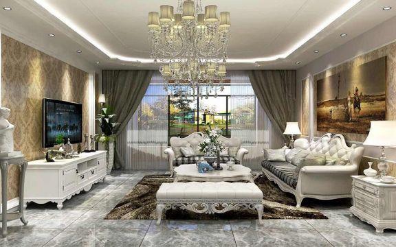 客廳白色沙發簡歐風格裝潢設計圖片