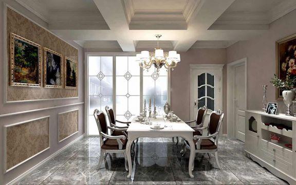 餐廳白色餐桌簡歐風格裝修效果圖