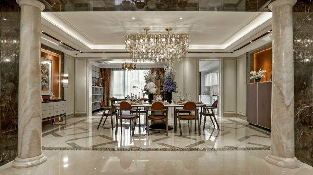 餐廳白色餐桌簡歐風格裝飾設計圖片