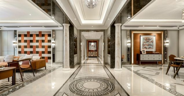 客廳米色走廊簡歐風格裝潢設計圖片