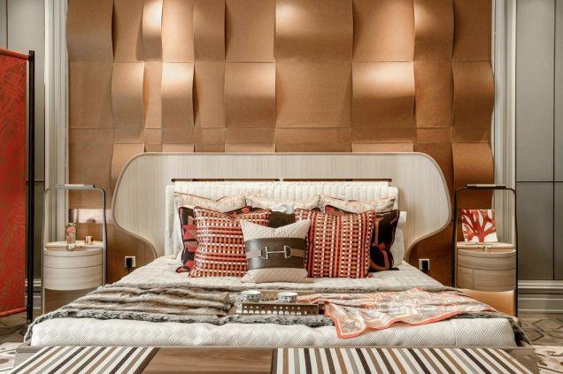 臥室黃色背景墻簡歐風格裝飾效果圖