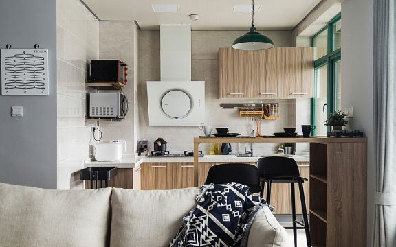 廚房咖啡色櫥柜北歐風格裝飾效果圖