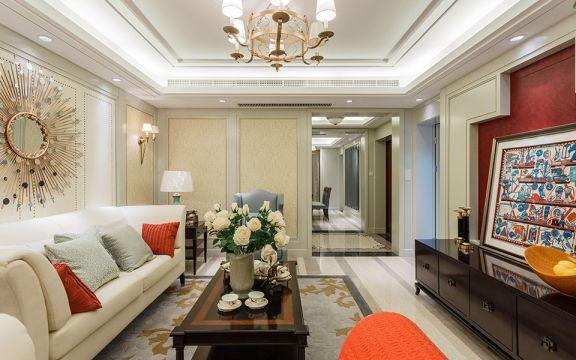 客廳米色沙發美式風格裝飾圖片