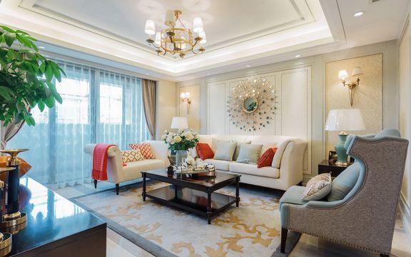 客廳米色背景墻美式風格裝修設計圖片