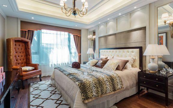 臥室米色背景墻美式風格裝飾設計圖片