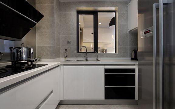 廚房白色櫥柜美式風格裝修效果圖