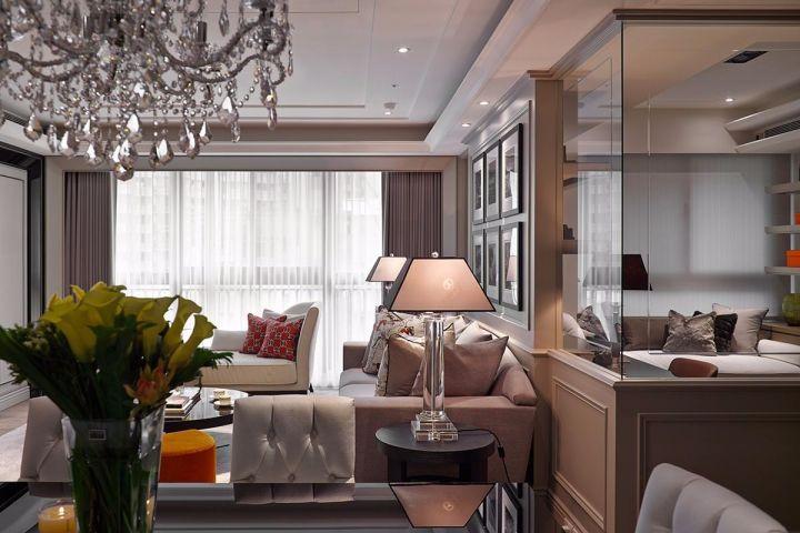 客廳灰色窗簾簡歐風格裝潢效果圖