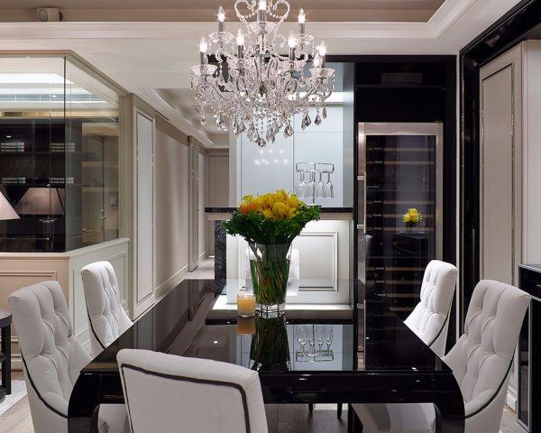餐廳黑色餐桌簡歐風格裝飾圖片