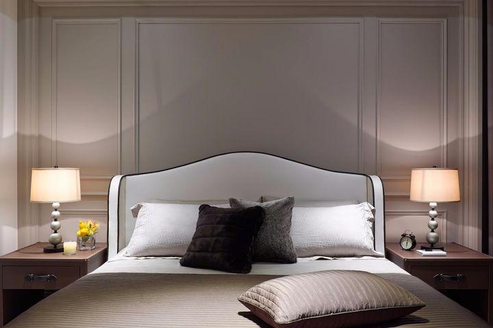 臥室白色背景墻簡歐風格裝潢圖片