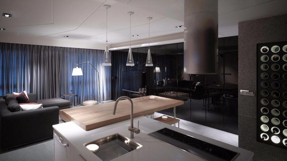 廚房白色廚房島臺簡約風格裝潢設計圖片