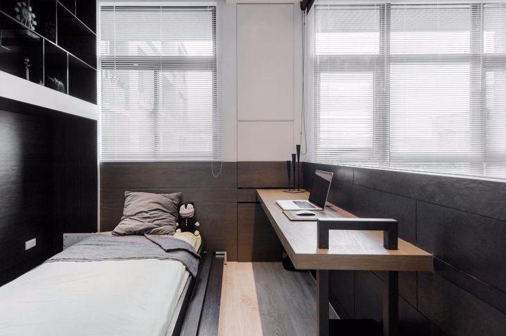 臥室黃色書桌簡約風格裝修圖片