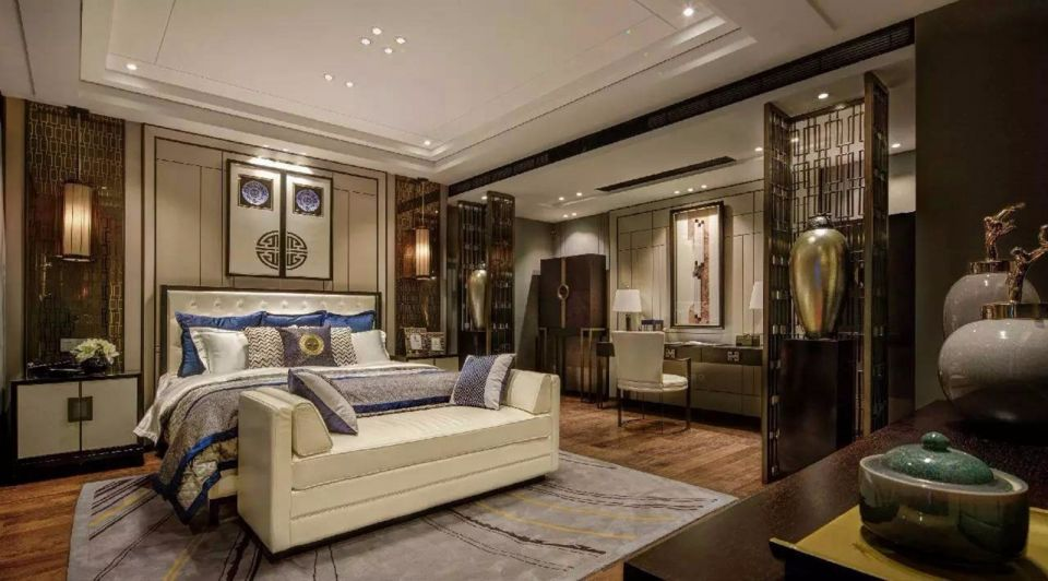 臥室白色吊頂新古典風格裝潢設計圖片