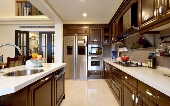 廚房咖啡色櫥柜歐式風格裝飾效果圖