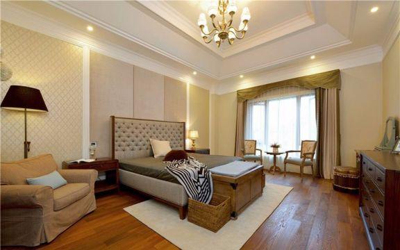 臥室米色背景墻歐式風格裝修圖片
