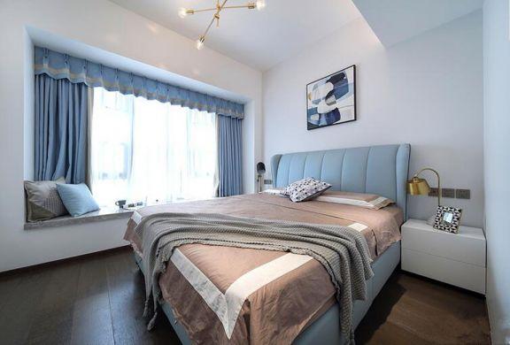 臥室藍色床現代簡約風格裝飾設計圖片