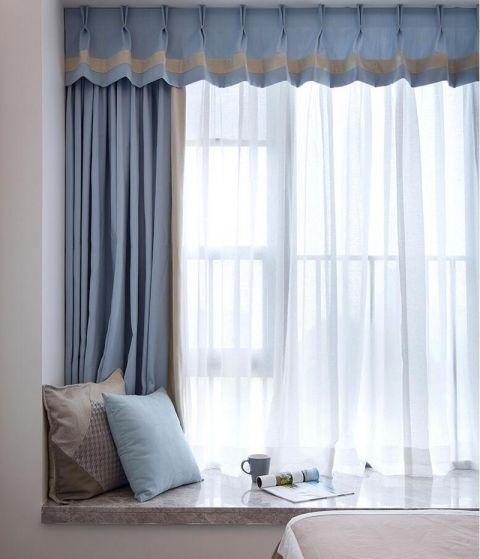 臥室藍色窗簾現代簡約風格裝修效果圖