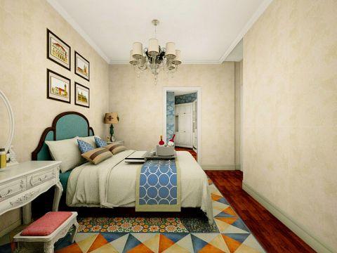 臥室黃色背景墻歐式風格裝飾圖片