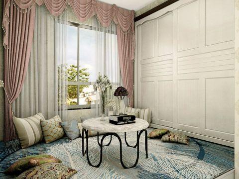 臥室粉色窗簾歐式風格裝潢圖片