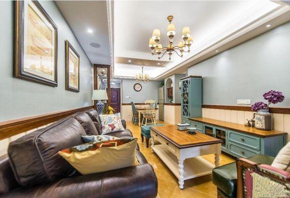 客廳咖啡色沙發美式風格裝飾效果圖