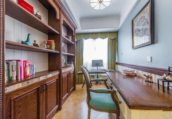 書房咖啡色書桌美式風格裝飾圖片