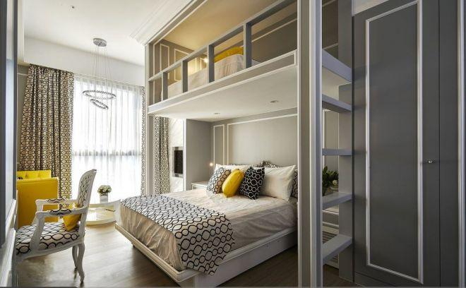 臥室米色床新古典風格裝飾圖片